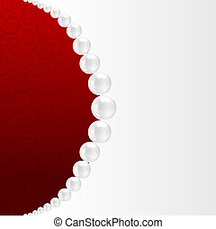 Pearl necklace on red.  illustration