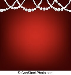 Pearl necklace on red - White pearl necklace border on red ...