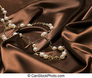 Pearl Necklace on Satin