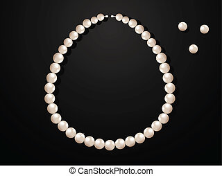Pearl Necklace - Pearl necklace on black background. ...