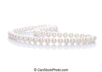 Pearl Necklace - Pearl necklace on white background