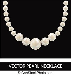 Pearl Necklace. Realistic Vector