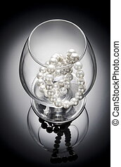 Pearl necklace - White pearl necklace in the glass