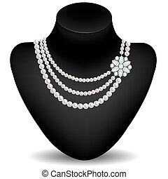 Pearl necklace with diamond jewelry on a mannequin