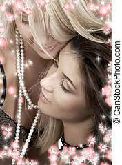 pearl passion with flowers - intimate picture of two lovely...