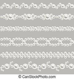 Pearl realistic seamless borders vector set