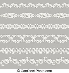 Pearl realistic seamless borders vector set