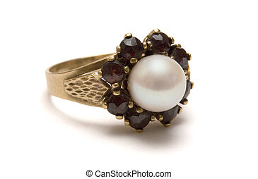 Pearl Ring - Golden pearl ring isolated on a white ...