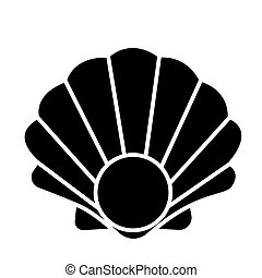 Pearl shell icon, vector illustration, black sign on isolated background