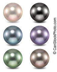 pearl., vecteur, ensemble, coloré