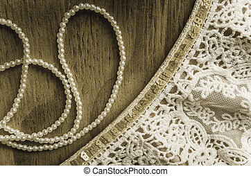 Pearls and Lace on Wood