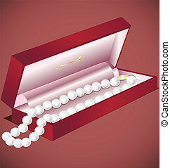 pearls gift - in a decorative red box pearl beads