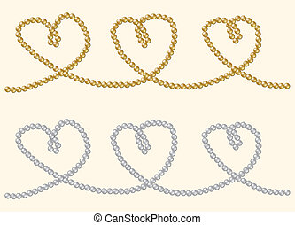 Pearls - String of rare gold and silver pearls in a heart...