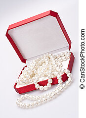 pearls in a red box