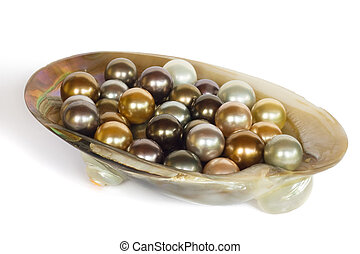 Pearls in a shell, isolated - Variety of different color...