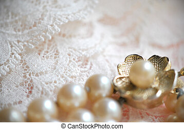 pearls on lace