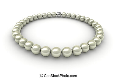 Pearls - 3D render of pearls over white background