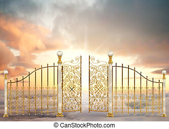 Pearly Gates Landscape - Pearly gates of heaven opening to a...