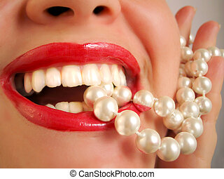 pearly whites - glamorous lips and pearls
