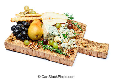 pears and cheese on wooden cutting board