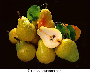 Pears bunched together
