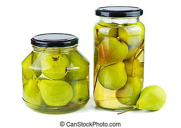 Pears canned in glass jars isolated on white background