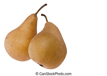 Pears - Flavovirent pears with a matte surface on a white...