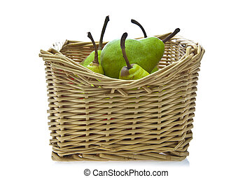 Pears In A Basket On White Background