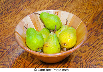 Pears in a Wooden Bowl