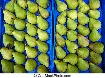 Pears in an outdoor market