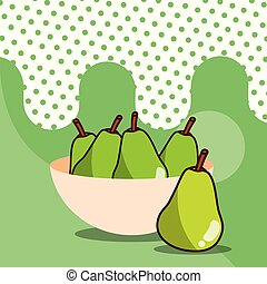 pears in bowl harvest fruit tasty dotted background color