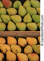Pears in wooden crates