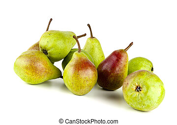 Pears isolated on white background. Copy space for text