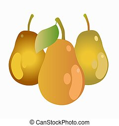 pears isolated on white background. Vector illustration.