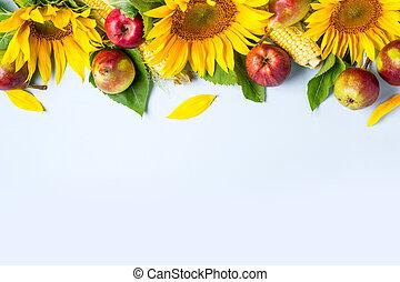 pears., maíz, girasol, otoño, fondo., frontera