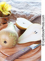 Pears on cutting board