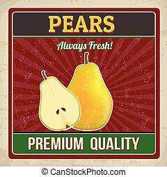 Pears retro poster