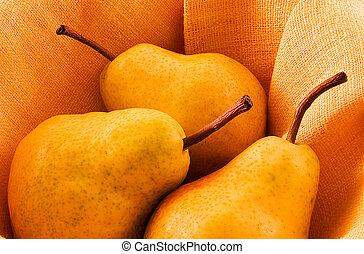 Pears - Three pears in warm light