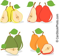 Pears, vector illustration on a transparent background