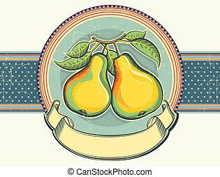Pears vintage label illustration on old paper.Vector background