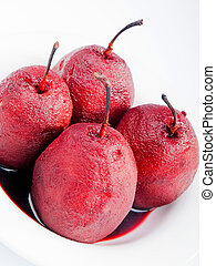 Pears with red wine