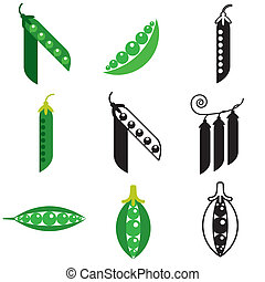 peas beans icons set - peas beans stylish icons set in...