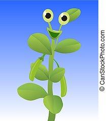 Peas. Funny cartoon character. Vector flat illustration
