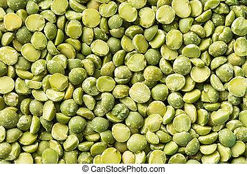 peas., grön, splittring