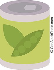 Peas in bottle, illustration, vector on white background.