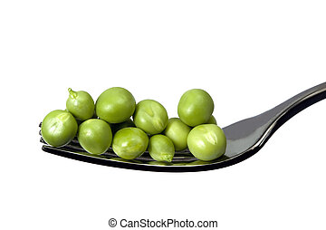 Fresh green peas on a silver fork, over white background.