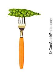 Peas on fork