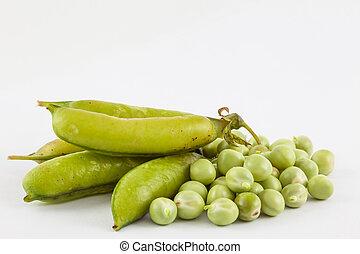 Peas (Pisum sativum) isolated in white background