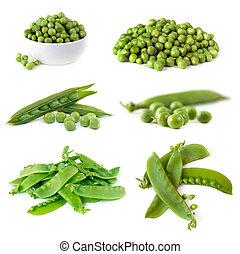 peas, samling, isoleret, på hvide