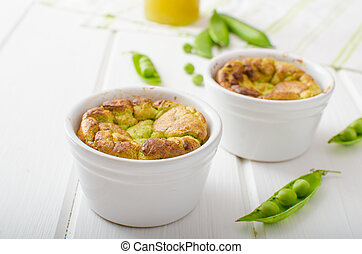 Peas souffle, simple and delicious with fresh juice, from...